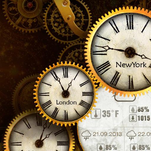 Gold Clock Live Wallpaper HD