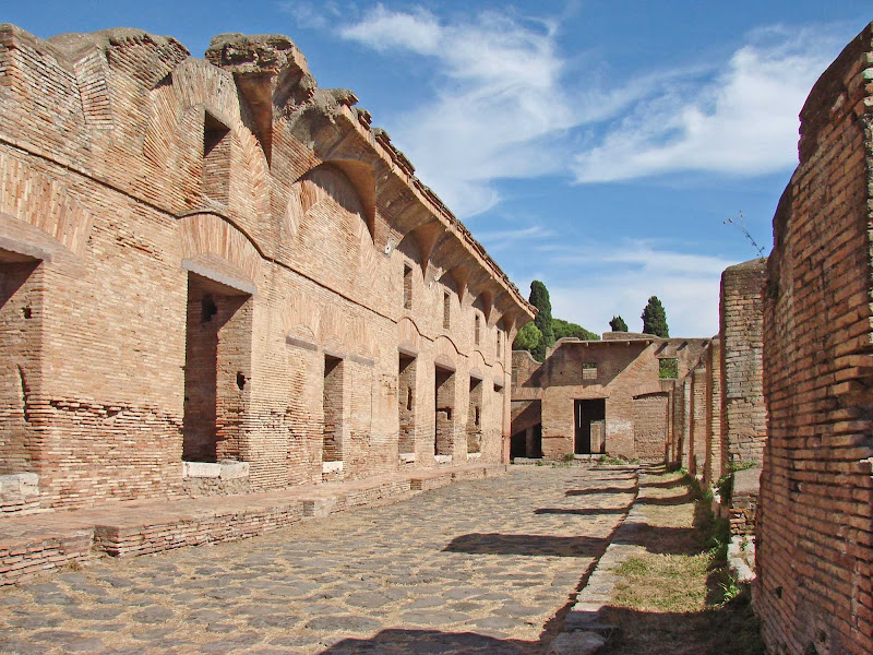 Ostia Antica, a large archeological site, was once the main harbor of ancient Rome. Today, near Ostia, you can wander through ruins of Roman streets and many buildings.