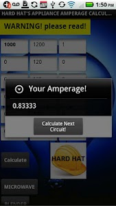 APPLIANCE AMPERAGE CALC screenshot 3
