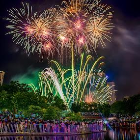 Fireworks in Kuala Lumpur by Alex Shanti - Public Holidays New Year's Eve ( klcc, reflection, fireworks, night, malaysia, kuala lumpur,  )
