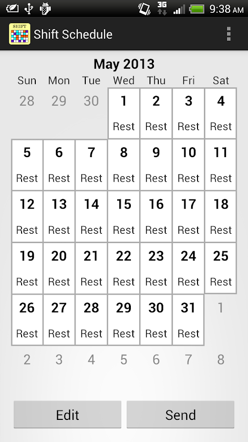 Shift Calendar / Schedule - screenshot