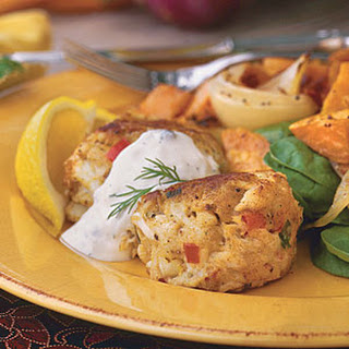 Maryland Crab Cakes With Creamy Caper-Dill Sauce.