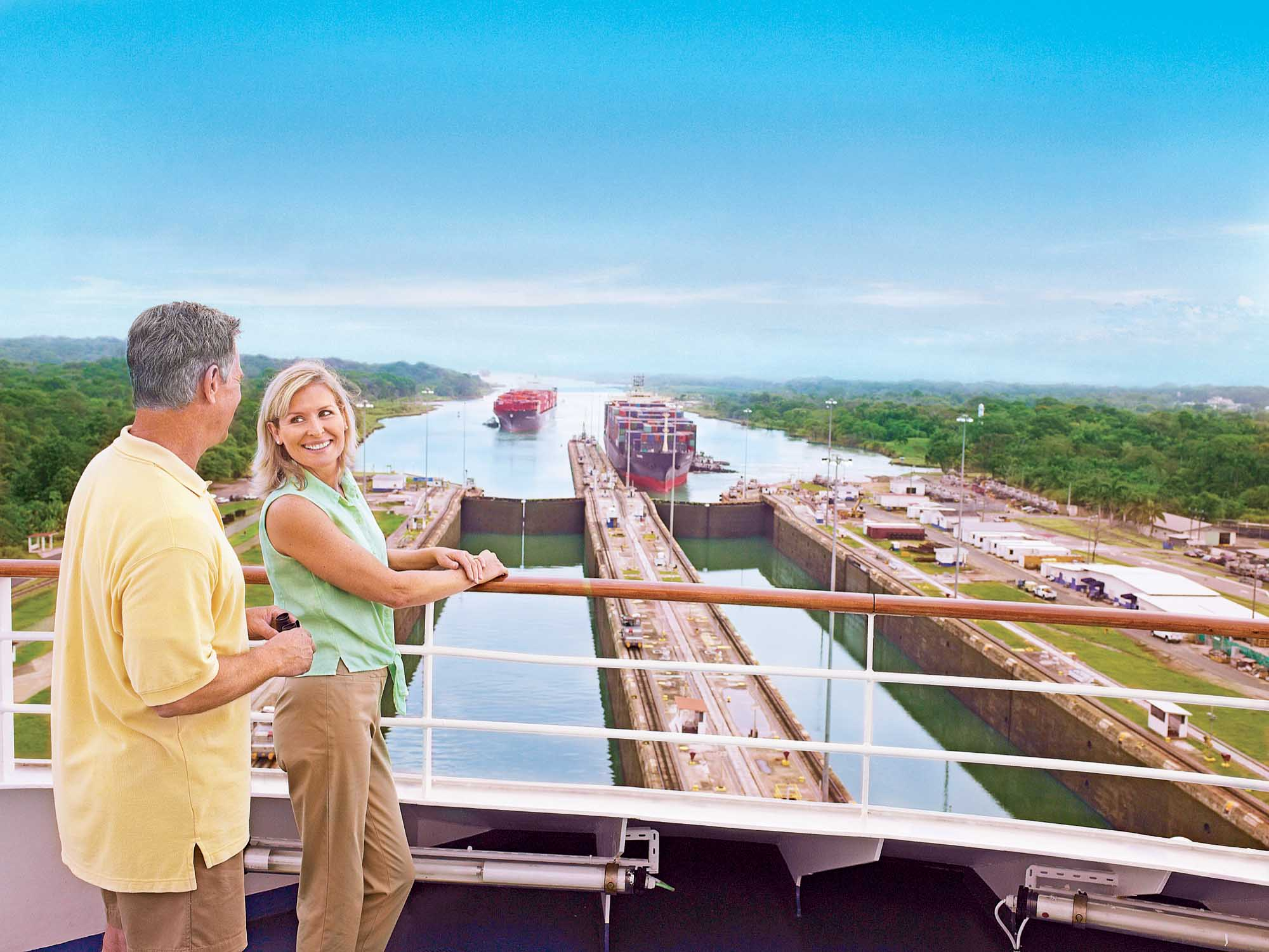 Get a close-up view of the Gatun Locks when Coral Princess passes through the Panama Canal.