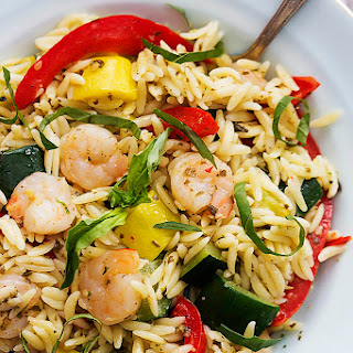 Shrimp & Veggie Orzo with Pesto Vinaigrette