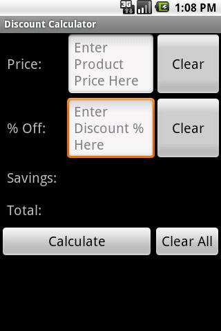 Simple Discount Calculator - screenshot