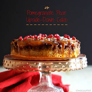 Pomegranate Pear Upside-Down Cake.