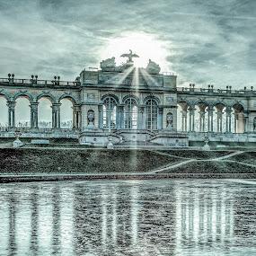frozen Gloriette in Vienna by Horst Winkler - Buildings & Architecture Public & Historical ( wien, vienna, building, winter, hdr, ice, sundown, gloriette, architecture, evening, austria, österreich,  )
