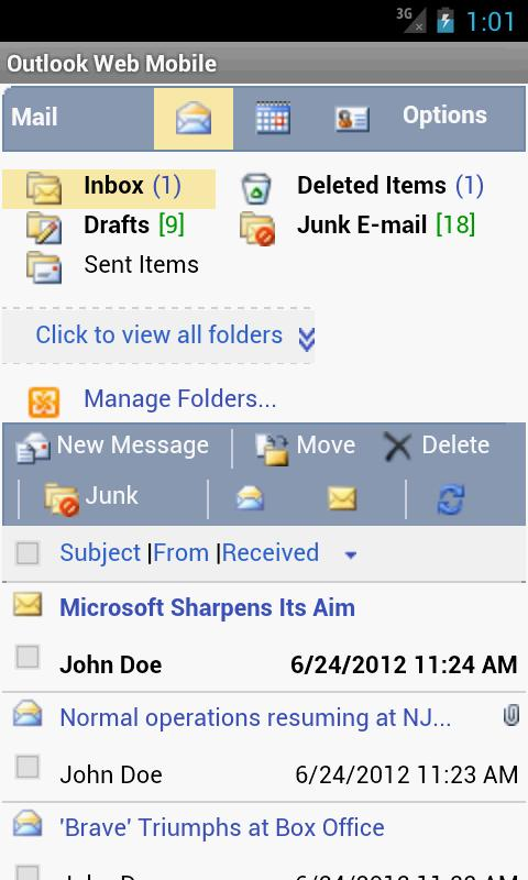 Outlook Web Mobile (OWA EMail) - screenshot