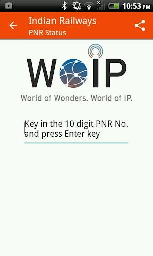 PNR Status by WOIP