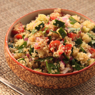 Make-Ahead Quinoa Salad with Cucumber, Tomato, and Herbs.
