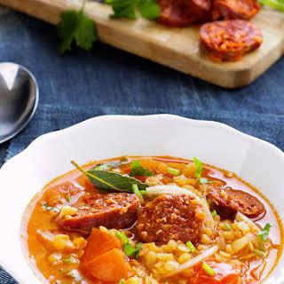 Spicy Tomato Chorizo Red Lentil Soup.
