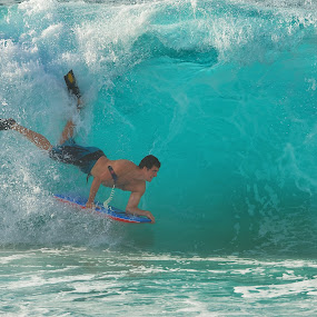 Dropping In by James Bokovoy - Sports & Fitness Surfing ( body boarding, wave, north shore, surf, oahu, hawaii, shorebreak )