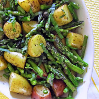 Roasted New Potatoes and Asparagus.