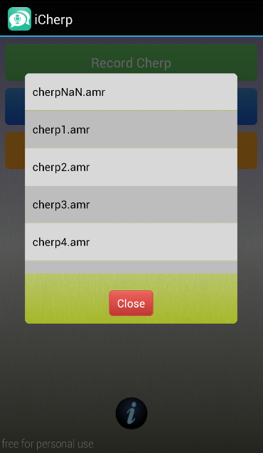 iCherp- screenshot