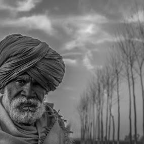 An Old Man by Gaurav Madhopuri - People Portraits of Men ( punjab, black and white, trees, indian, old man,  )