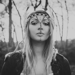Native Love by Kyle Archerd - Black & White Portraits & People ( nature, black and white, woman, beautiful, outdoors, portrait, b&w, person )
