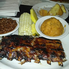 Baby back ribs, sweet potato mash and bbq beans...almost all their sauces are gf!
