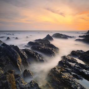 Sunrise Return by Fadly Hj Halim - Landscapes Sunsets & Sunrises ( east cost, calm, chendering, kuala terengganu, fadly halim, waves, sea, terengganu, malaysia, sunrise, pantai pandak, rocks )