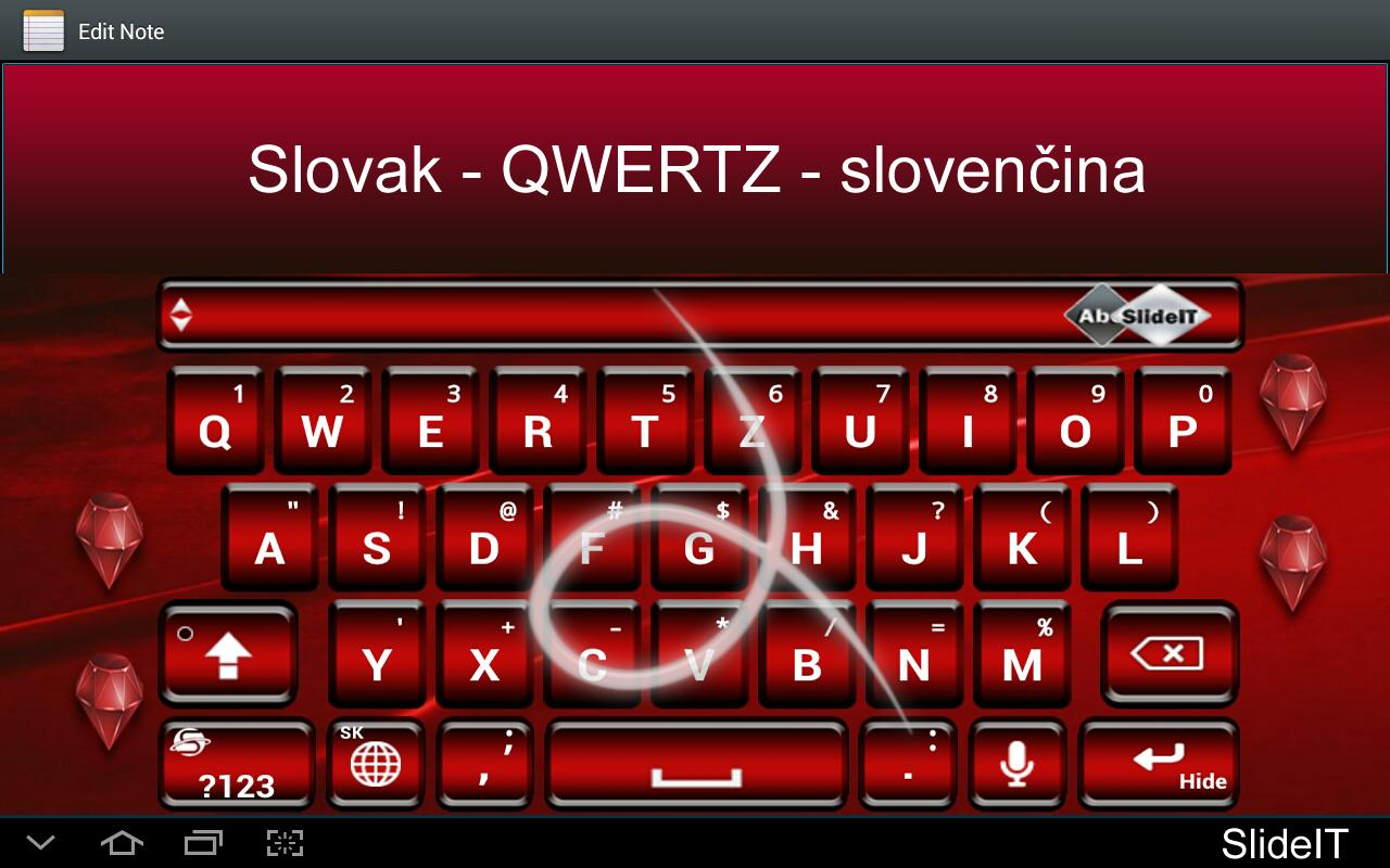 SlideIT Slovak QWERTZ Pack- screenshot