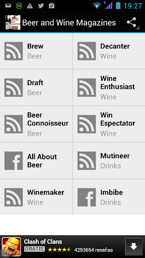 Beer and Wine Mags. RSS reader