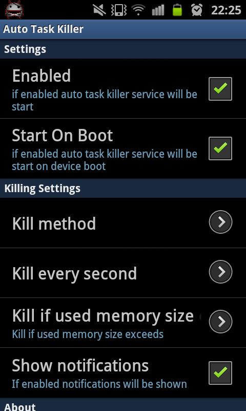 Auto Task Killer - screenshot