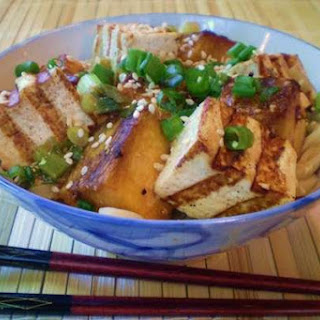 Miso Roasted Pumpkin and Grilled Tofu Over Udon Noodles.