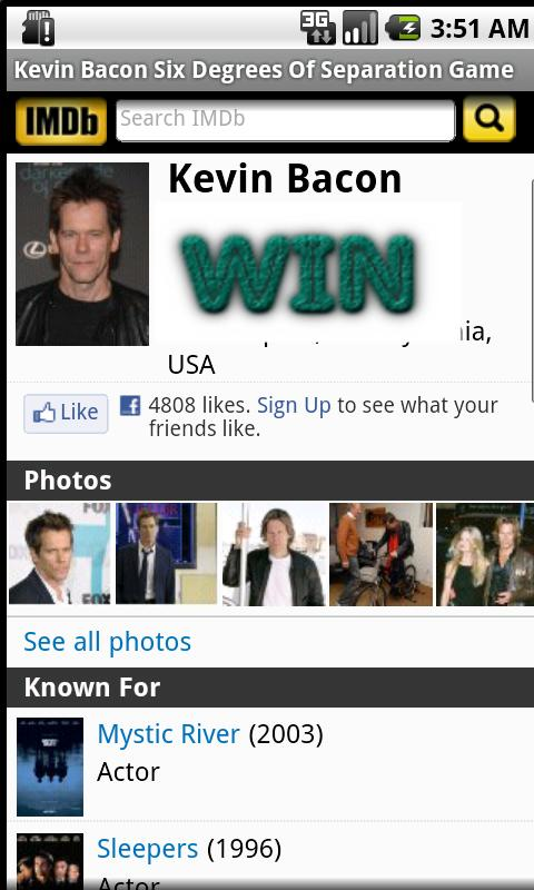 Kevin Bacon Game- screenshot
