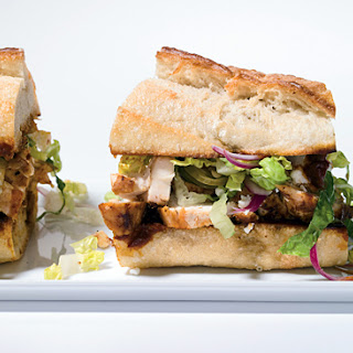 Chicken Sandwiches with Chiles, Cheese and Romaine Slaw.