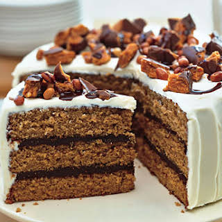 Chocolate-Peanut Butter Cake with Cream Cheese and Butterfinger Frosting.