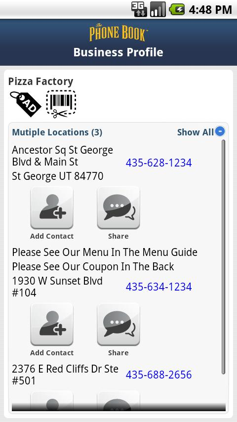 The Phone Book Yellow Pages - screenshot