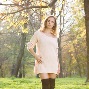 Autumn Lights by Stanica Marius - People Fashion ( lights, girl, grass, green, woman, sun )