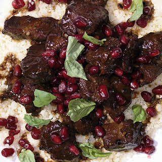 Pomegranate-Marinated Lamb with Spices and Couscous.