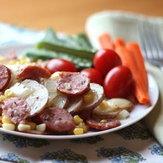 Herbed Potatoes with Kielbasa and Corn.