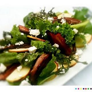 Manuka Bacon, Apple & Goat's Cheese Salad with Honey Lemon Dressing.