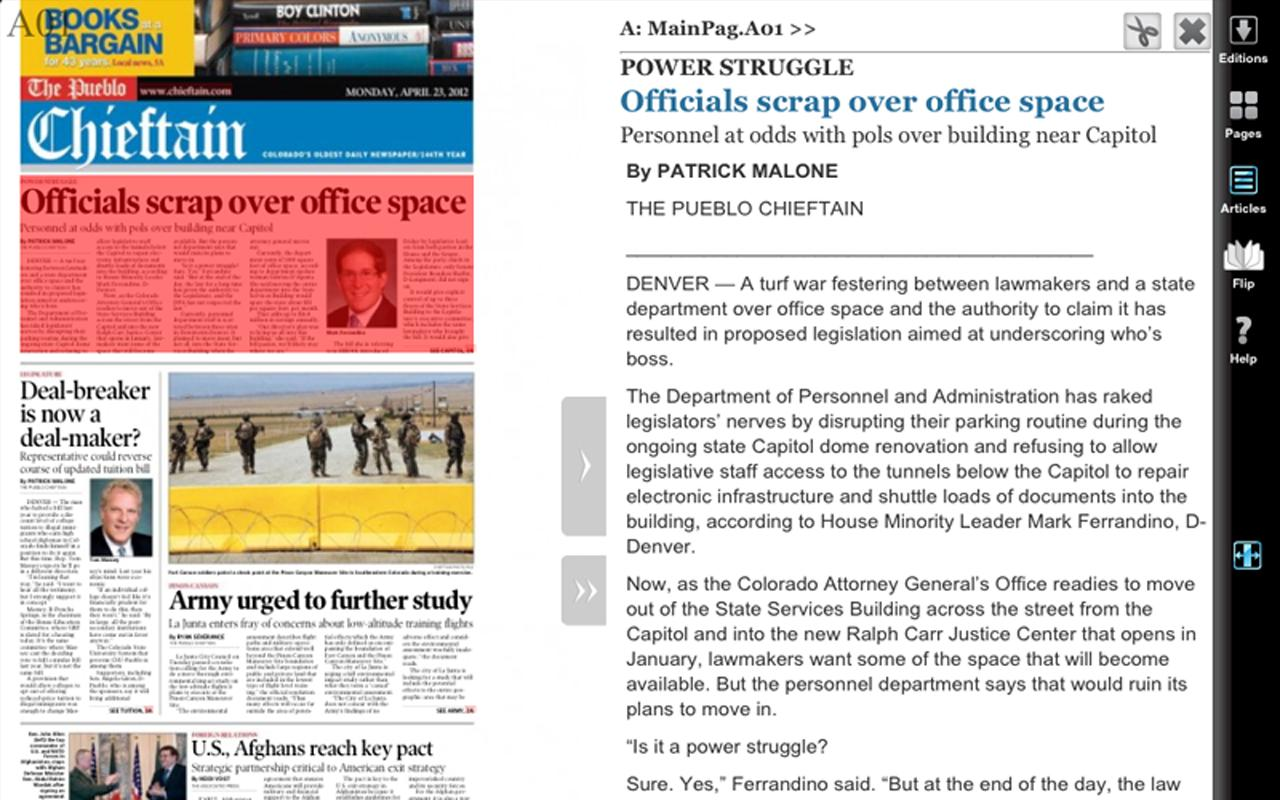 Pueblo Chieftain for tablets - screenshot