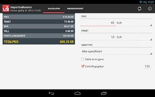 Screenshot of Importkalkulator