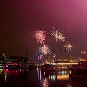 New Year Linz, Austria . by Daniel MV - Abstract Fire & Fireworks ( water, new year, happy, ship, beautiful, dark, fireworks, bad, light, wonderful )