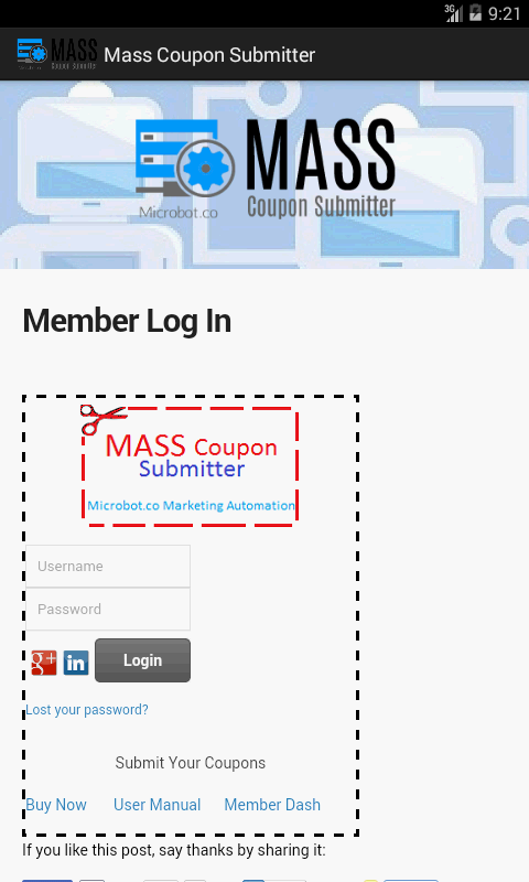 Mass Coupon Submitter- screenshot