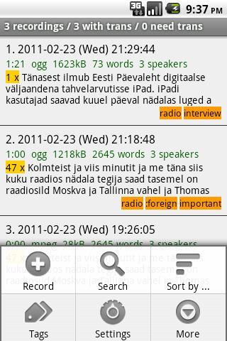Diktofon- screenshot