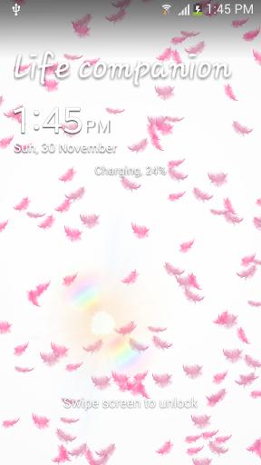 粉紅色的羽毛動態壁紙