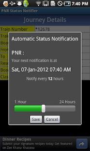 PNR Status Notifier- screenshot thumbnail