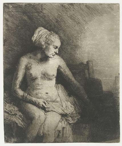 Woman at the Bath, with a Hat beside her