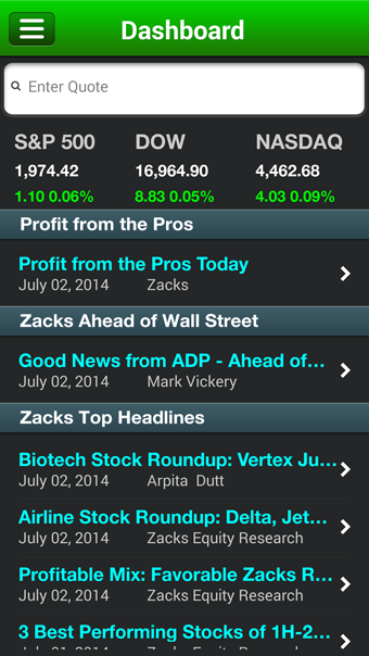 Zacks Stock Research- screenshot