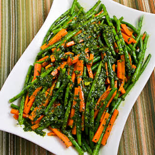 Steamed Green Beans and Carrots with Charmoula Sauce.