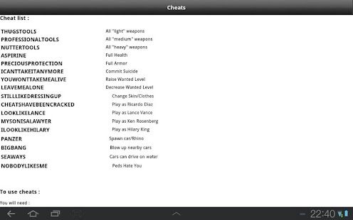 Vice City for Android Cheats - screenshot thumbnail