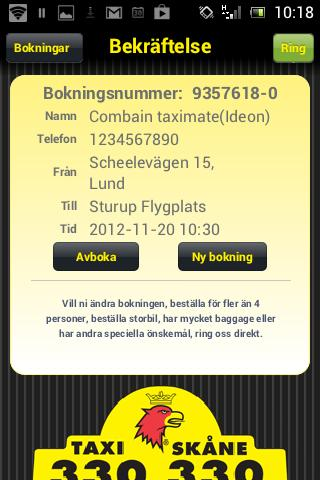 Taxi Skåne - screenshot