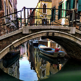 Venetian reflections IV by Stefano Landenna - City,  Street & Park  Historic Districts ( venezia, reflection, colors, boats, venice, bridge, italy, canal )