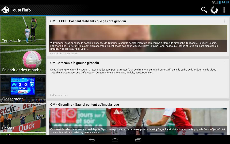 foot info marseille screenshot