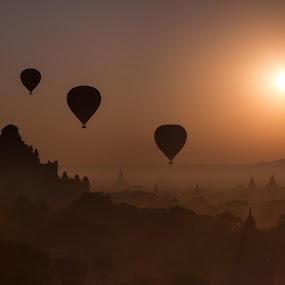 Sunrise in Bagan by Joyce Chang - Transportation Other ( temples, myanmar, sunrise, hot air balloons, bagan )