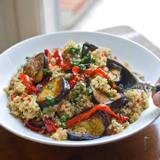Roast Vegetable Quinoa Salad With Garlic & Parsley Oil.